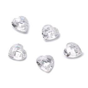 Top Drilled Checker Cut Faceted White Cubic Zirconia Hearts, Approx 10mm