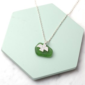 Sea Glass & Bird Necklace
