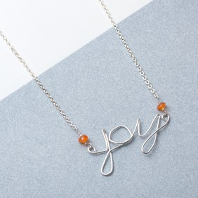 Wire Word Joy Necklace