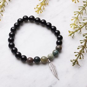 Men's Onyx & Agate Feather Bracelet