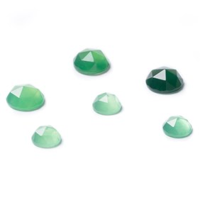 Green Agate Rose Cut Cabochons