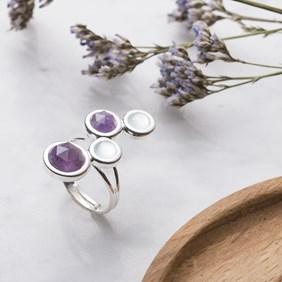 Chalcedony & Amethyst Ring