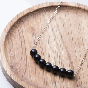 Onyx Bead Bar Necklace