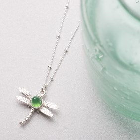 Green Agate Dragonfly Necklace