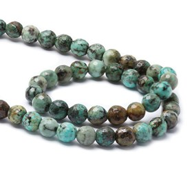 African Turquoise Faceted Beads, Approx 8mm