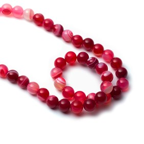 Cherry Red Banded Agate Round Beads, 8mm Round