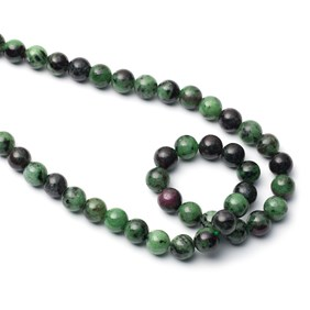 Ruby And Zoisite Round Beads