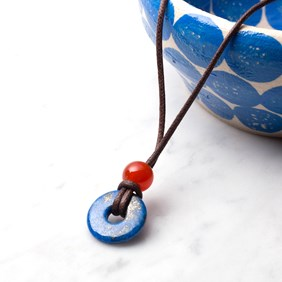 Kids Lapis Donut and Carnelian Bead Necklace
