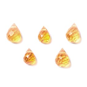 Citrine Faceted Drop Briolette Beads, Approx From 3x2mm To 4x2.5mm, Packs of 10 Beads
