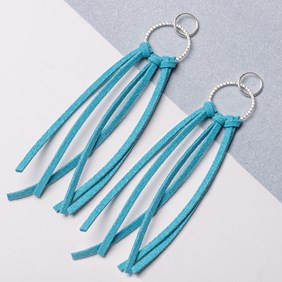 Turquoise Flat Suede Tassel Earrings