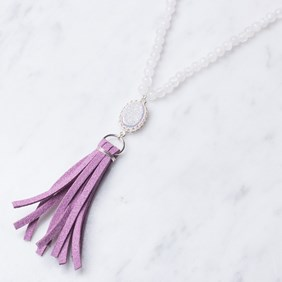 White Drusy Tassel Necklace