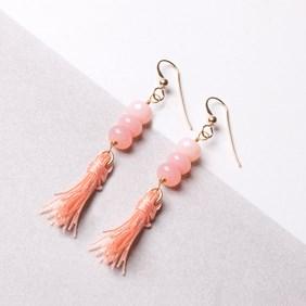 Pink Opal Tassel Earrings