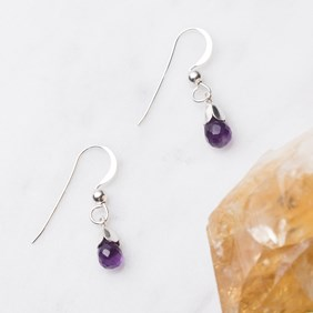 Amethyst & Petal Drop Earrings