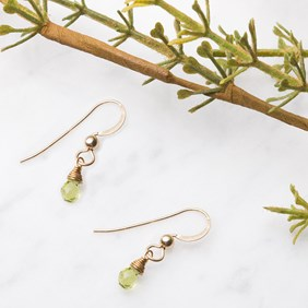 Wire Wrapped Peridot Briolette Earrings
