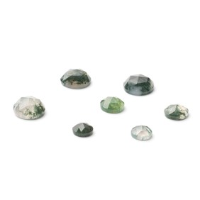 Green Moss Agate Rose Cut Cabochons