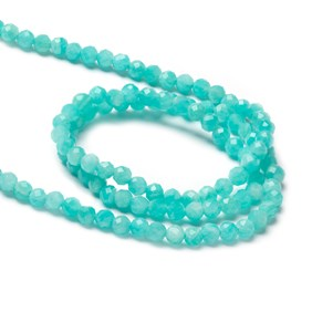 Amazonite Faceted Round Beads, Approx 3mm
