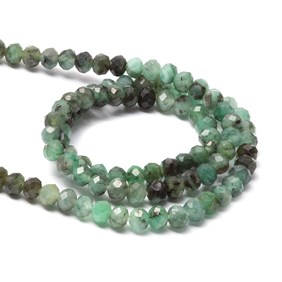 Emerald Faceted Round Beads, Approx 3.75mm