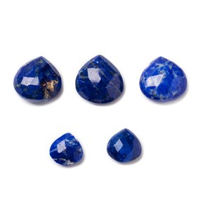 Lapis Lazuli Faceted Heart Briolette Beads, Approx 8-10mm