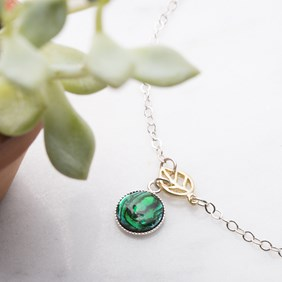 Green Paua Shell & Leaf Bracelet
