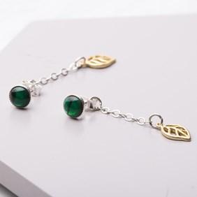 Green Paua Shell & Leaf Drop Earrings