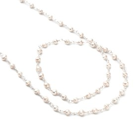 Sterling Silver Pearl Wire Wrapped Rosary Bead Chain, Approx 3-4mm Rondelle