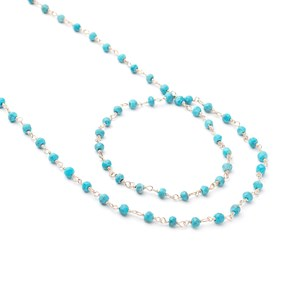 Sterling Silver Turquoise Wire Wrapped Rosary Bead Chain, Approx 3-4mm Rondelles