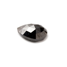 Black Diamond Rose Cut Cabochon, Approx 8x6mm Teardrop