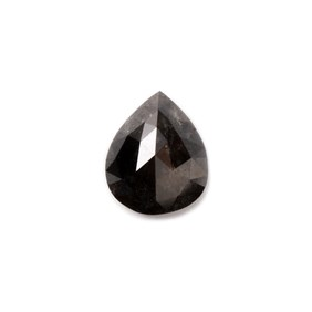Black diamond Rose Cut Cabochon, Approx 8x6.5mm Teardrop