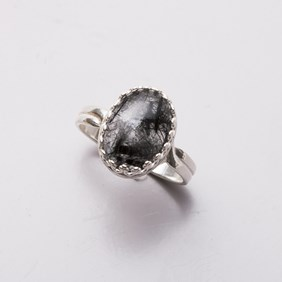 Black Tourmalinated Quartz Ring