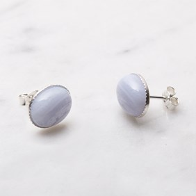 Blue Lace Agate Earstuds