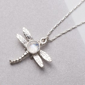 Rainbow Moonstone Dragonfly Necklace