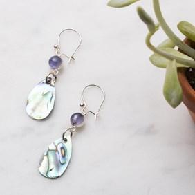 Iolite & Paua Shell Earring Drops
