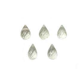 Green Amethyst Faceted Drop Briolette Beads, Approx 3x2.5mm To 8x5mm, Pack of 10 Beads