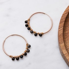 Rose Gold & Black Spinel Hoop Earrings