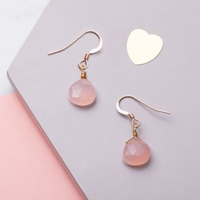 Rose Gold & Pink Chalcedony Briolette Earrings