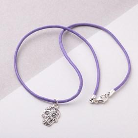 Purple Skull Charm Necklace