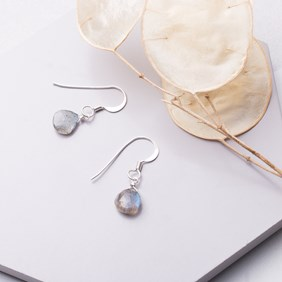 Labradorite Heart Briolette Earrings