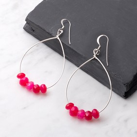 Fuchsia Pink Chalcedony Hoop Earrings