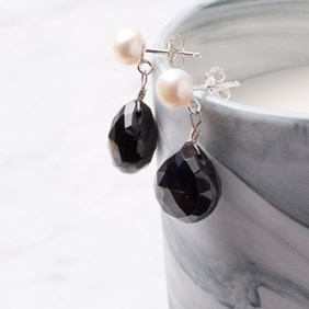 Pearl & Black Spinel Drop Earrings