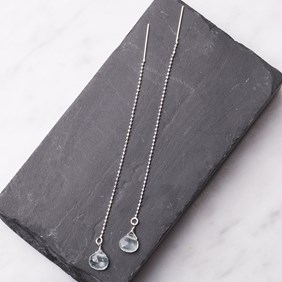 Aquamarine Threader Earrings