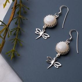 Opal & Dragonfly Earrings
