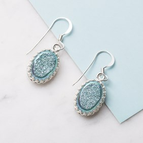 'Frozen' Turquoise Drusy Earrings