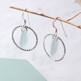Sea Glass Textured Hoop Earrings