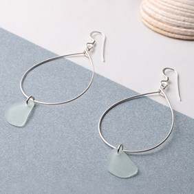 Large Hoop Sea Glass Earrings