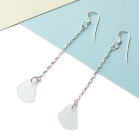 Sea Glass & Chain Drop Earrings