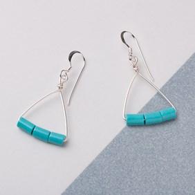 Turquoise Howlite Tube Bead Earrings