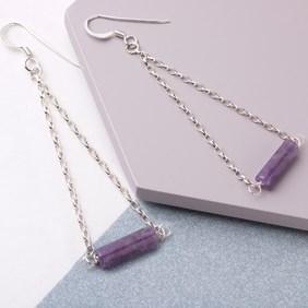 Amethyst Tube Bead Earrings