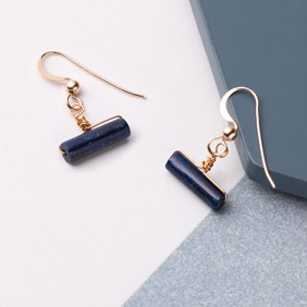 Lapis Tube Wrap Earrings
