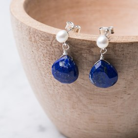 Lapis Lazuli Briolette & Pearl Earrings