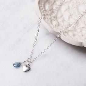 Moss Aquamarine Heart Necklace